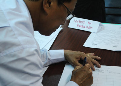 Communities and Civil Society representatives sign the letters
