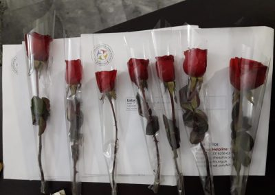 Letters and roses prepared to be sent to embassies